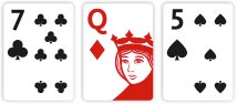 Texas Hold'em Flop Seven of Clubs, Queens of Diamonds and Five of Clubs
