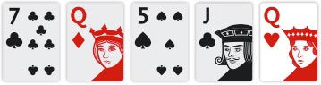 Texas Hold'em River Seven of Clubs, Queens of Diamonds, Five of Clubs, Jack of Clubs and Queen of Hearts