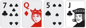 Texas Hold'em Turn Seven of Clubs, Queens of Diamonds, Five of Clubs and Jack os Clubs